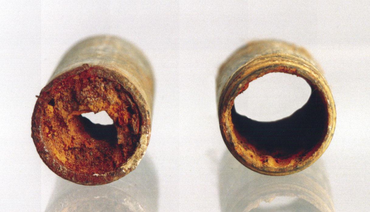 Wasserleitung vorher, nacher bei Einsatu des WELLAN RIngs